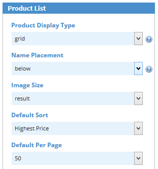 Product List Settings